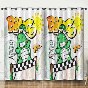 3D printed curtain Cartoon dinosaur luxury window curtains for living room