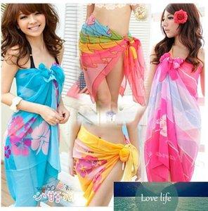 Sexy Beach Trajes de baño para mujeres Sheer colorido cubierta de gasa hasta pareo Bikini Mantón de la bufanda floral sedoso tul vestidos de Bohemia