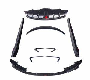 1 Conjunto de alerón de labio de parachoques trasero para Tesla Modelo 3 Fibra de carbono Parachoques delantero / Cuchillo de viento / Faldas laterales