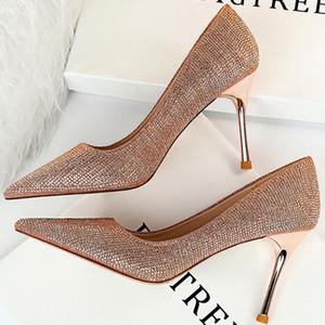 2020 Autumn Luxury Women Sequin 9cm Thin High Heels Pumps Gold Bling Crystal Rhinestone Eden Heels Valentine Cinderella Shoes