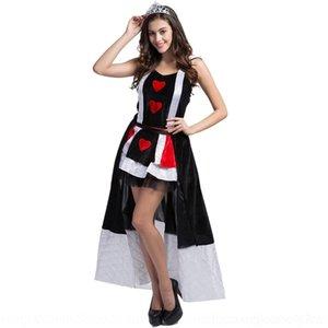 oJX4C traje terno poker rainha RFoIW Cosplay Jogar Rainha Halloween uniforme roupas vestuário traje da rainha com o terno jogo Coroa da rainha