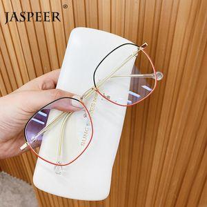 JASPEER Retro Anti Eyestrain Computer Óculos Mulheres Homens Anti Light Blue olho de vidro Moda Bicolor Blue Ray Bloco armações
