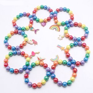 Hot Selling Fashion Europe America Rainbow Beaded Children's Bracelet Cute Dripping Alloy Pendant Children's Girl Pearl good luck