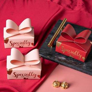 신선한 Bowknot 선물 상자 빨간색과 분홍색 브론 징 편지 Bowknot 모양 새해 파티 발렌타인 데이 사탕 쿠키 종이 선물 가방