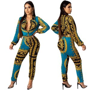 SMR9485 sexy fashion digital printing long sleeve women's jumpsuit