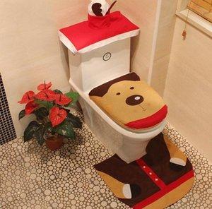 Covers Weihnachten WC Sankt bedrucktes Toilettenabdeckung Teppich Tankdeckels 3 Sätze Art und Weise Weihnachten Toliet Dekoration-Partei-Geschenk-Großverkauf DHB1451