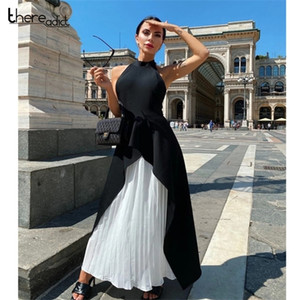 Thereadict Solid Elegant Two Piece Set Dress High Collar Sleeveless Dresses 2 Piece Set Women High Waist Backless Autumn Outfit0924