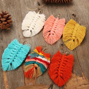 Этнический стиль 15 цветов кисточкой кулон серьги Bohemian мотаться серьги листьев Eardrop шарма уха Увлеченные женщин серьги ювелирные подарки
