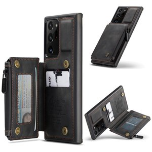 CaseMe Back Case For Samaung note 20 S10 Leather Case Card Slots Zipper Wallet For Galaxy note20 Ultra S10 Plus Stand Back Cover