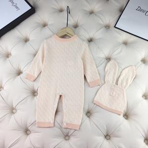 New Born Baby Jungen Mädchen Pullover Junge Stricken Pullover Strampler Overall Herbst mit Hut Kinder Winter-Kind-Kleidung 2 Farben