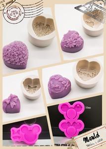 Fondan Kokulu Sabun Reçine Döküm Bireysel Çiçek Kalp Şeker Kalıpları Sevimli Fare Çikolatalı Kek Kalıpları 6 Desenler 3D Silikon Kalıp