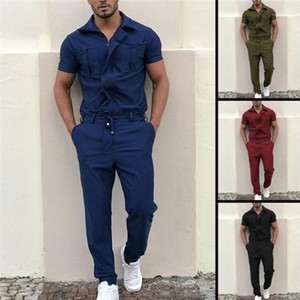 Mens Tracksuits Solid Color Regular One Piece Jumpsuits Short Sleeve Long Pants Homme Jumpsuits Casual Male Kleidung Zipper Fracht