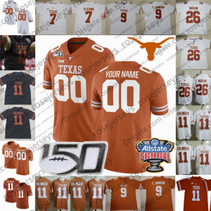 Personalizzato 2020 Texas Longhorns # 12 Earl Thomas III Colt McCoy 10 Vince Young 20 Earl Campbell 34 Ricky Williams Uomini Gioventù Kid del calcio Jersey