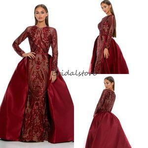 Русалка Мусульманские Вечерние платья с Detachbale Поезд с длинными рукавами Burgundy блесток платья выпускного вечера African Wear 2020 Trend Plus Размер Формальные платье
