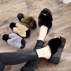 Women's Furry Slippers Ladies Cute Plush Hair Fluffy Wedge Platform Fur Fashion Sandals Summer Warm Dress Indoor Outdoor 7cm