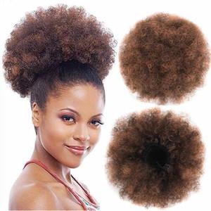 8 pouces Puff Afro Curly Chignon Drawstring Ponytail Court Afro Kinky Poney queue clip en synthétique sur l'Afrique Chignon postiches pour les femmes