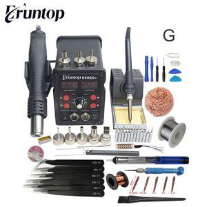 Pantalla nueva Eruntop 8586D + Digital Doble Estación de soldadura de la soldadura eléctrica Irons + Pistola de aire caliente SMD actualizado desde 8586