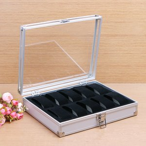 10 Grid Slots Watches Bracelet Display Storeage Box For personal business Use Silver Aluminum Square Organizer Watch Holder Case