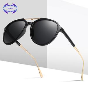 VCKA polarisierten Sonnenbrillen Frauen Mode in Übergröße Doppel-Beam-Feld-Spiegel-Sonnenbrillen Weibliche oculos Damen Brillen