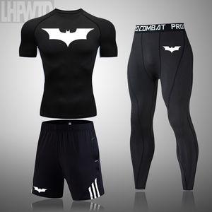 2020 erkek Fitnes spor tişört koşu gömlek kısa kollu erkek giyim Batman spor çabuk kuruyan setleri sıkıştırmadan başında LJ200827