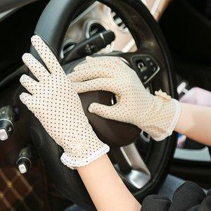 1 Paar Frauen Sunscreen Handschuhe Sommer Dots Spandex-Handschuhe Anti-UV Short Driving Glove Elastic Thin Etiquette Glove hohe Qualität