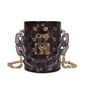 Labbra Sexy Red Stampa Donne Borse trasparenti e la catena della spalla borse del sacchetto disegno della scatola di Crossbody Mini Party Bag Clutch