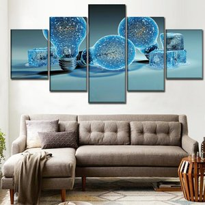 One Set 5 Pieces 3D Artistic Blue Lamp Poster Top-Rated Canvas Print Painting Modern Wall Art Home Decorative Modular Picture