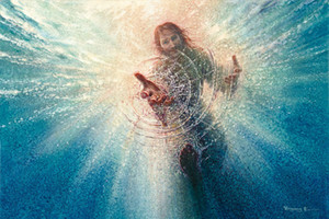 Yongsung Kim HIS MIGHTY HAND Giclee Art Print Jesus Reaching Down into the Water Oil Painting On Canvas Wall Art Home Decor 200824