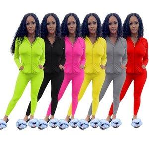 Womens long sleeve outfits 2 piece set tracksuit shirt legging jogging sportsuit sportswear sweatshirt tights hot klw5083