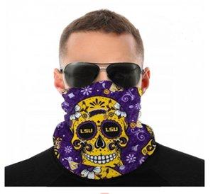 Maschere NCAA LSU Tigers Skull seamless Buff Sciarpa Shield Bandana viso Protezione UV per il motociclo in bicicletta riding Cerchietti