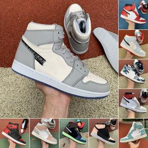 2020 últimos zapatos de alta Jumpman 1 OG GS X baloncesto de los hombres de Obsidiana ASG UNC Panda Milán Tie Dye 1s gris ahumado Zapatos Chicago Blanco Gris Deportes