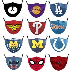2 adet filtre moda çocuk yüz maskesi ile Lakers Dijital baskı yetişkin koruması ayarlanabilir earband toz geçirmez anti-pus maskesi