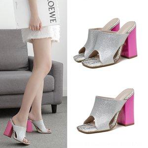 2020 Schuhe der neuen Frauen Online beliebte Platz Kopf starker Absatz Farbabmusterung Outdoor-Sandalen und Sandalen lzLZ-27