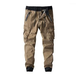 Long Mid Waist Mens Pants with Pockets Casual Solid Color Male Trousers Mens Cargo Pants Winter Autumn