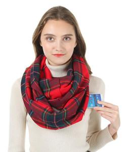 Taschenschals Hidden Reißverschluss Rot Plaid Pashmina Infinity Winter Warme Schal Weiche Outdoor Frauen Reise Scaves Cashmere Pashmina Wraps HWB1148