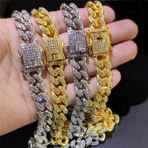 Hombres helados Out Cuban Link Chain Bling Rhinestone Hip Hop Jewelry Silver Gold 12mm Fashion Moda Miami Cuba Hiphop Cuello de tenis Collar para las mujeres
