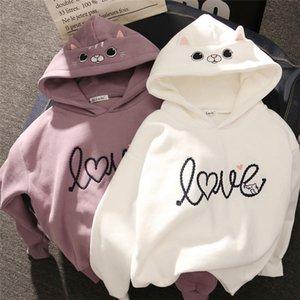 Women Hoody Women Cute Cat Hoodie Long Sleeve Elastic Warm Winter Plush Coat Student Fashion Top Streetwear 200924