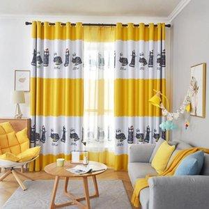 Cartoon-Katze Blackout Vorhänge für Wohnzimmer-Kind-Jungen Kinderzimmer Gelb Blau Küchen-Fenster Behandlung drapiert JS257C