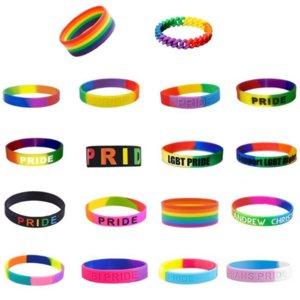 Праздничной Ультрамодного украшение Радуги браслетов сегментированных Gay Pride Силикон браслет Размер взрослые для подарка промотирования AHA819