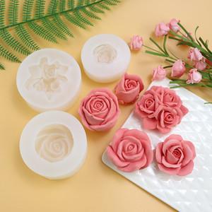 Molde 3D Rose de silicona para torta de mousse de pasta de azúcar de la vela del jabón que hace la herramienta para hornear Decoración forma de la flor DIY torta de los pasteles