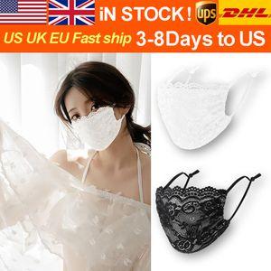 DHL Sıcak Satış 2020 Yeni Yıkanabilir ve Kullanımlık Yüz Kalkanı Toz Kadınlar Respiratörü Moda Yaz Kore Dantel Maskeler İnce Pamuk Maskeler