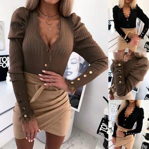 Frauen Neue Ankunft Sexy V-Ausschnitt Slim Fit Lace Tops Mode Beiläufige Pullover Feste Farbe Kordelzug T-shirt Langarm Strickseiten Tops