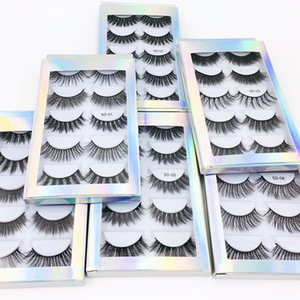 Wholesale Hot selling best price 5 Pair Natural Thick synthetic Eye Lashes Makeup Handmade Fake Cross False Eyelashes with Holographic Box