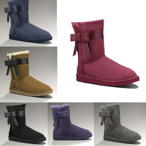 UGG  Calze stivali di alta qualità scarpe casual classico stivali da neve d'inverno notte nera delle donne australiane caviglia più breve farfalla avvio pelliccia bo GSDg #