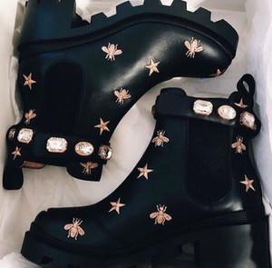 Genuine Leather Top lusso invernale di cristallo cinghie Donne Booties Nero Stivaletti Chunky combattimento Stivali Comfort a piedi scarpe EU35-42