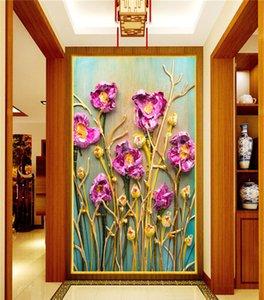 Grand Papier peint personnalisé Mural European Style Salon Bonus Peinture à l'huile de fleur de rose mur sans couture Tissu Papier peint personnalisé