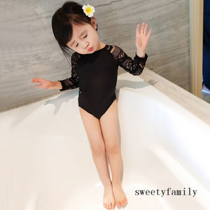 Kid Beach Swimwear Lace Hollow Out One Piece Swimsuit Baby Girl Jumpsuits Pure Color Summer Fashion Child Clothing Swimsuit