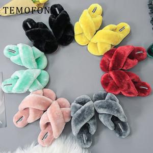 TEMOFON zapatillas suaves invierno de las mujeres calientes del otoño en casa antideslizante de los deslizadores de la casa hogar mujer traviesas zapatos zapatos femeninos nueva HVT1433