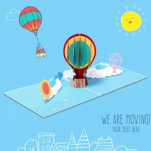 New Hot Air Balloon Carte d'anniversaire Carte de voeux à la main 3D avec des enveloppes pour les familles Amis Collègues cadeau EZ2K #