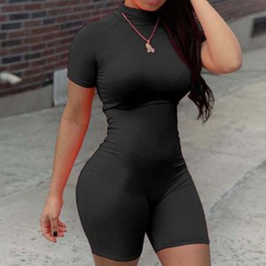 Summer Fashion women's Jumpsuit 2020 New Sexy Solid Color Stand Up Collar Short Sleeved Solid Color Stretch women's Leggings